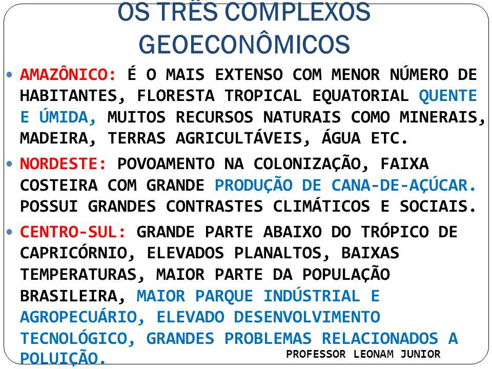 OS TRÊS COMPLEXOS GEOECONÔMICOS AMAZÔNICO: É O MAIS EXTENSO COM MENOR NÚMERO DE HABITANTES, FLORESTA TROPICAL EQUATORIAL QUENTE E ÚMIDA, MUITOS RECURS