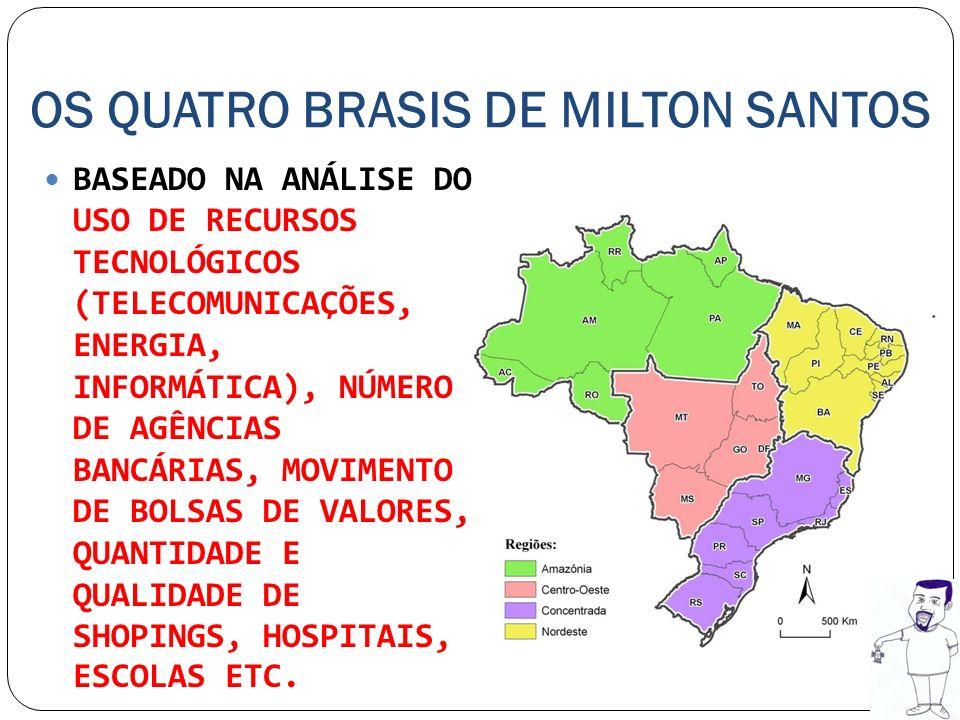 OS QUATRO BRASIS DE MILTON SANTOS REGIÃO CONCENTRADA: CORRESPONDE AO SUDESTE E AO SUL, ALTO GRAU DE URBANIZAÇÃO, MODERNIZAÇÃO E PRODUÇÃO AGROPECUÁRIA, AVANÇADO PADRÃO DE CONSUMO.