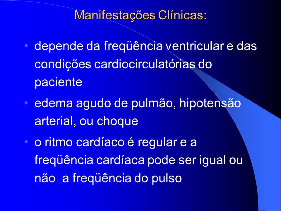 Manifestações Clínicas: depende da freqüência ventricular e das condições cardiocirculatórias do paciente edema agudo de pulmão, hipotensão arterial,