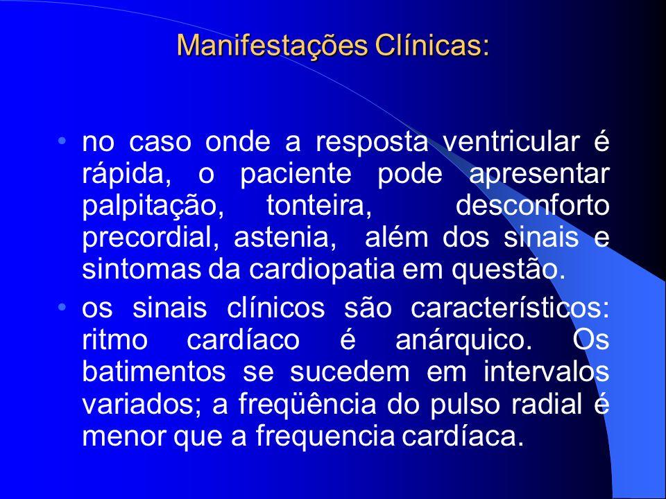 Manifestações Clínicas: no caso onde a resposta ventricular é rápida, o paciente pode apresentar palpitação, tonteira, desconforto precordial, astenia