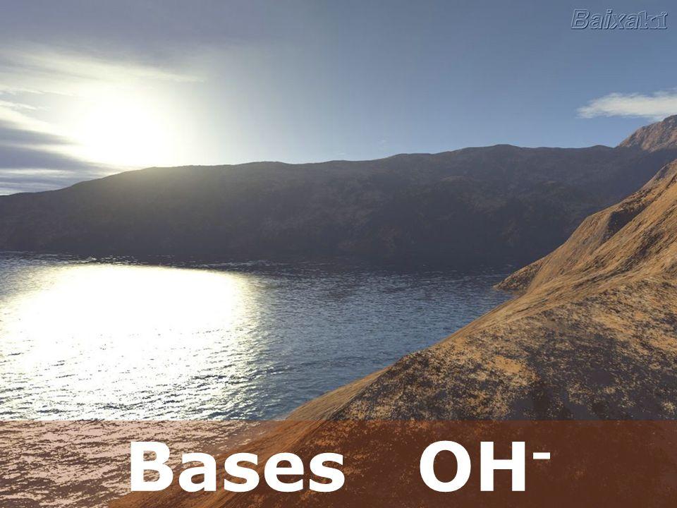 Bases Liberam a hidroxila ou oxidrila em solução aquosa OH - (aq).