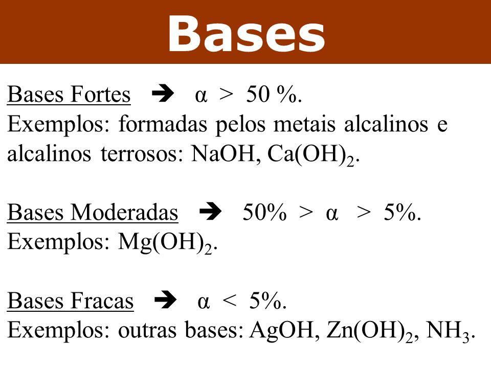 Bases As principais bases: NaOH Soda cáustica.Higroscópica, saponificação.