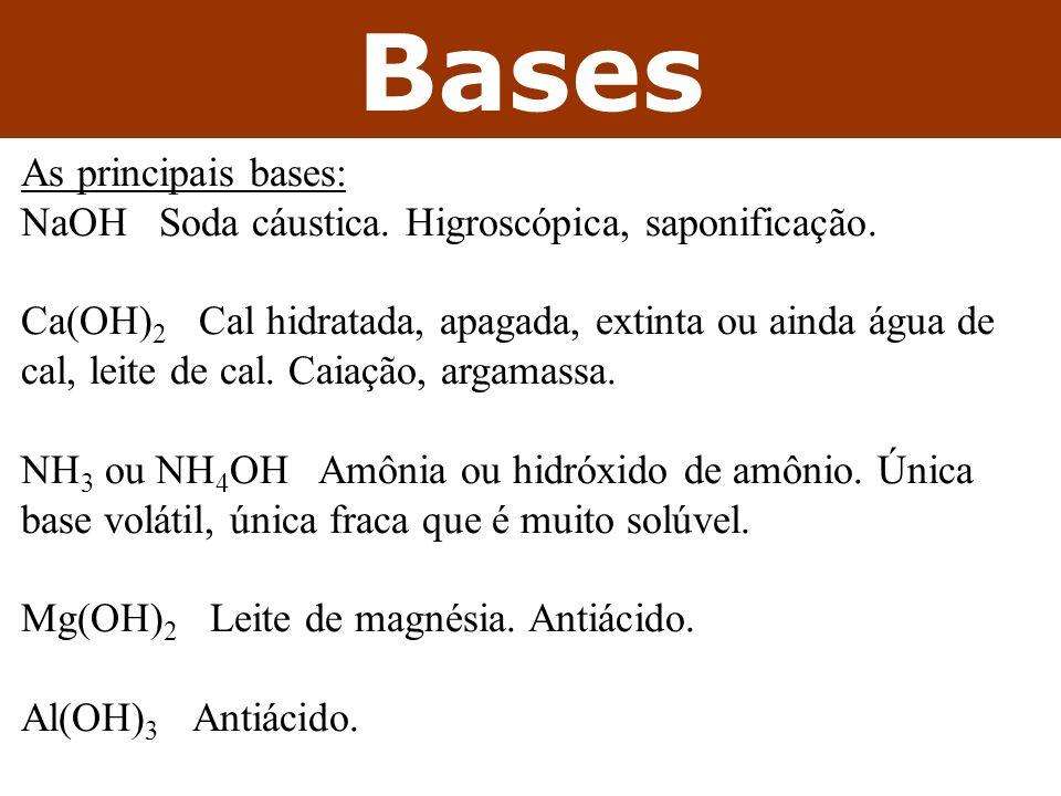 Sais Os principais sais: NaCl – sal de cozinha (sal-gema, soro fisiológico) KI – aditivo de sal de cozinha (x bócio, NaI) NaF – aditivo da pasta de dente (x cáries) / água potável KNO 3 – salitre (com enxofre e carvão = pólvora) NaNO 3 – salitre do chile Ca 3 (PO 4 ) 2 – ossos / dentes (fertilizantes)