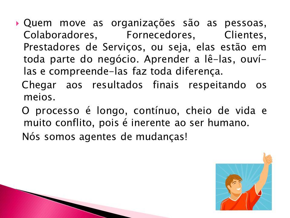 Quem move as organizações são as pessoas, Colaboradores, Fornecedores, Clientes, Prestadores de Serviços, ou seja, elas estão em toda parte do negócio.