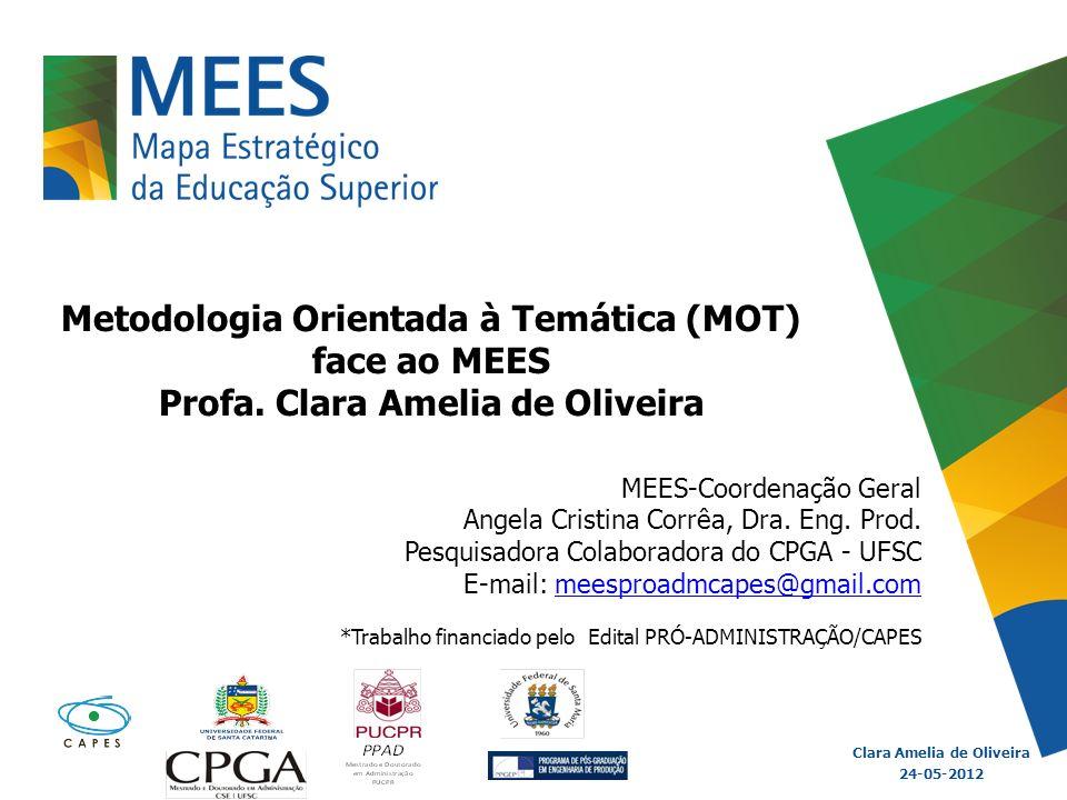 Metodologia Orientada à Temática (MOT) face ao MEES Profa. Clara Amelia de Oliveira Clara Amelia de Oliveira 24-05-2012 MEES-Coordenação Geral Angela