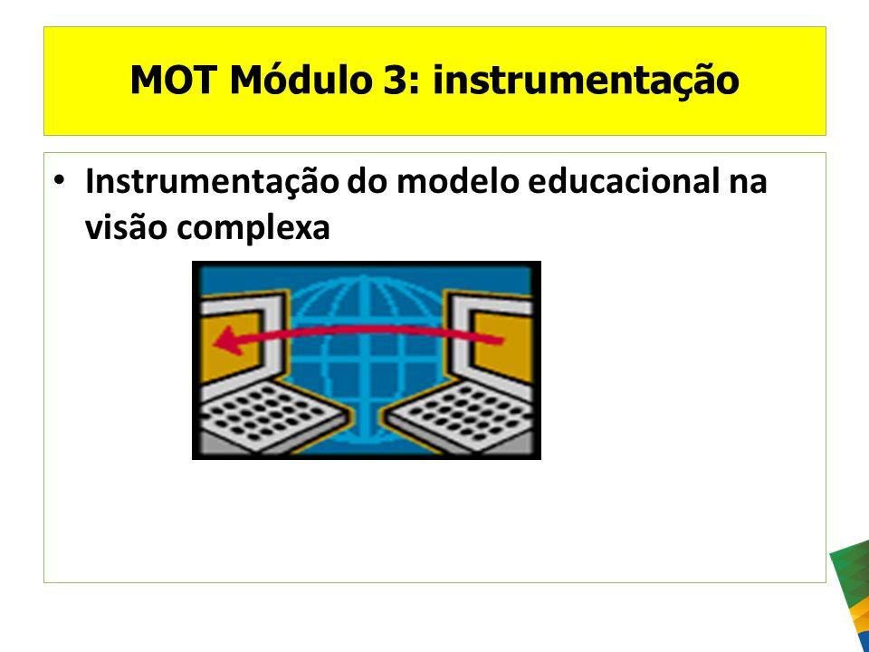 MOT Módulo 3: instrumentação Instrumentação do modelo educacional na visão complexa