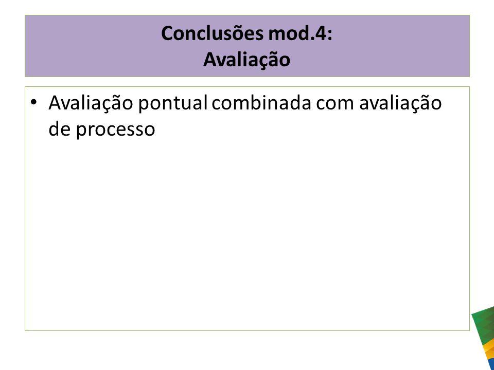 Conclusões mod.4: Avaliação Avaliação pontual combinada com avaliação de processo