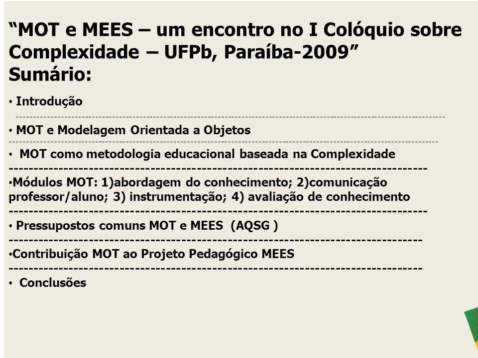 MOT e MEES – um encontro no I Colóquio sobre Complexidade – UFPb, Paraíba-2009 Sumário: Introdução ---------------------------------------------------