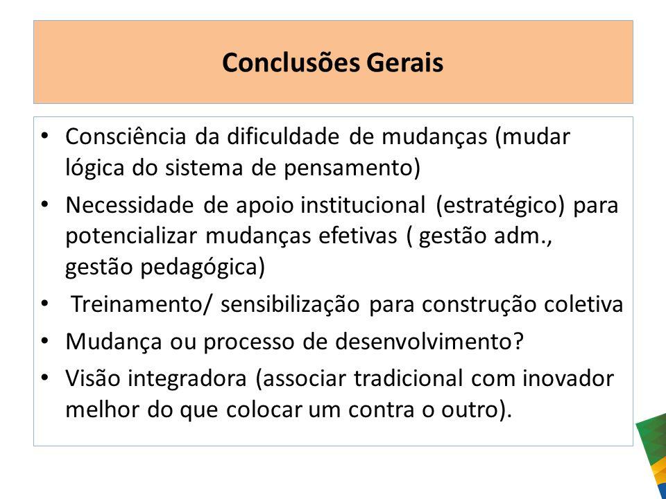Conclusões Gerais Consciência da dificuldade de mudanças (mudar lógica do sistema de pensamento) Necessidade de apoio institucional (estratégico) para