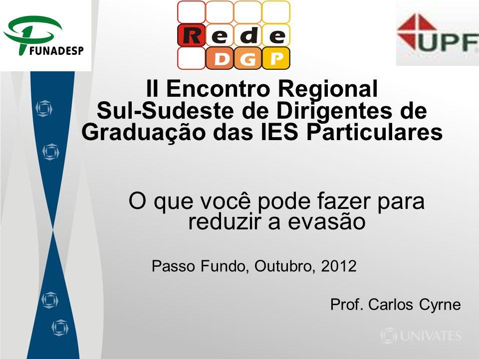 II Encontro Regional Sul-Sudeste de Dirigentes de Graduação das IES Particulares Passo Fundo, Outubro, 2012 Prof. Carlos Cyrne O que você pode fazer p