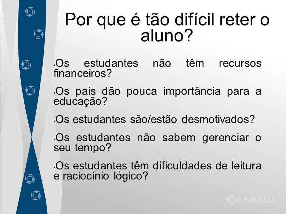Por que é tão difícil reter o aluno? Os estudantes não têm recursos financeiros? Os pais dão pouca importância para a educação? Os estudantes são/estã