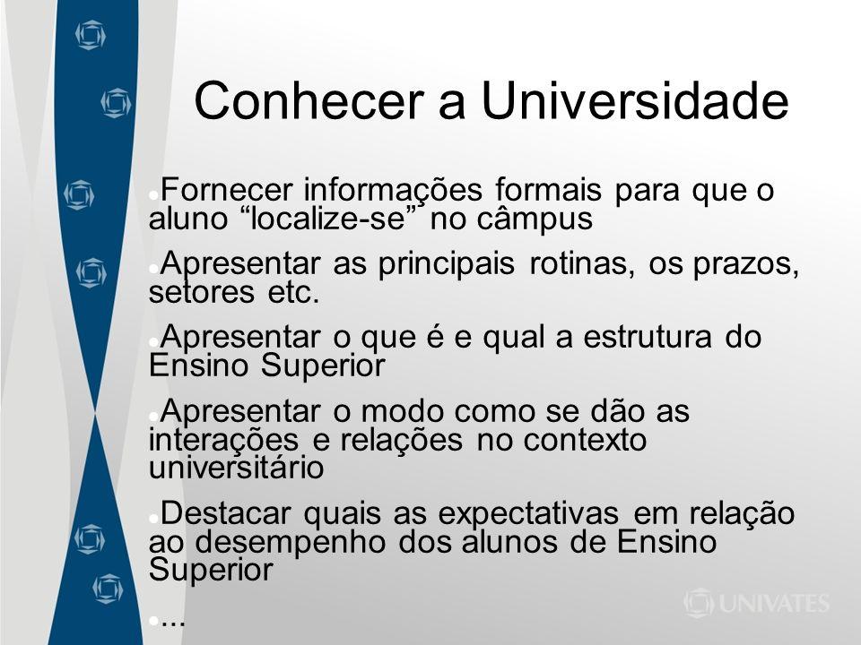 Conhecer a Universidade Fornecer informações formais para que o aluno localize-se no câmpus Apresentar as principais rotinas, os prazos, setores etc.