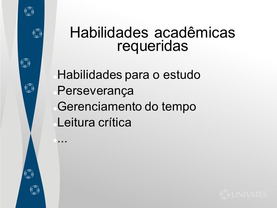 Habilidades acadêmicas requeridas Habilidades para o estudo Perseverança Gerenciamento do tempo Leitura crítica...