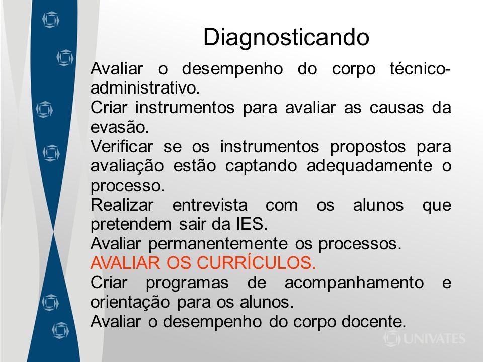 Avaliar o desempenho do corpo técnico- administrativo. Criar instrumentos para avaliar as causas da evasão. Verificar se os instrumentos propostos par