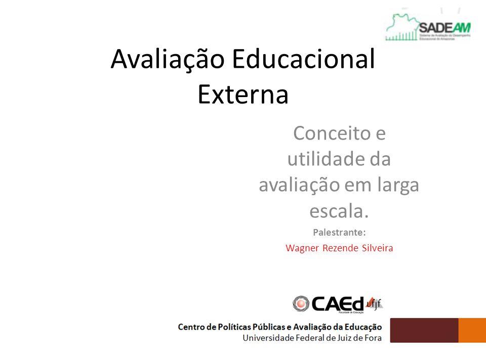 Avaliação Educacional Externa Conceito e utilidade da avaliação em larga escala. Palestrante: Wagner Rezende Silveira