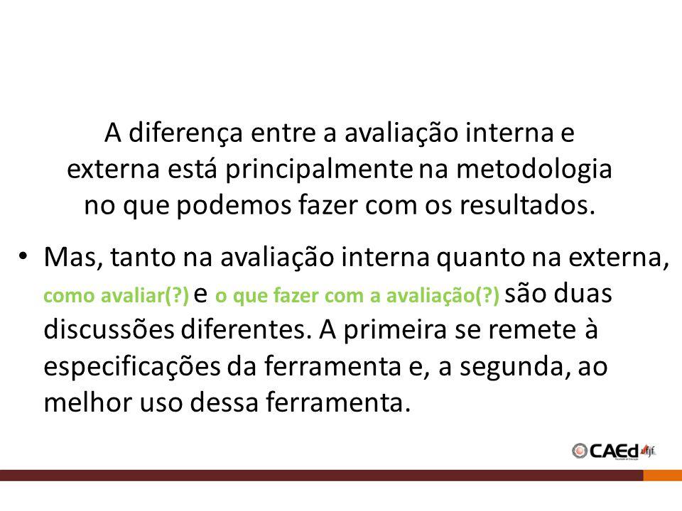 A diferença entre a avaliação interna e externa está principalmente na metodologia no que podemos fazer com os resultados. Mas, tanto na avaliação int