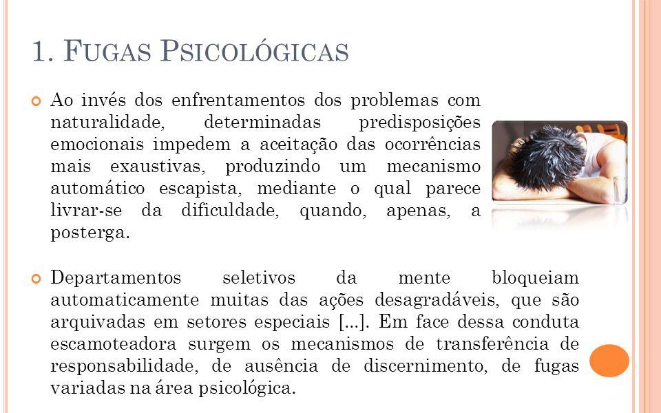 1. F UGAS P SICOLÓGICAS Ao invés dos enfrentamentos dos problemas com naturalidade, determinadas predisposições emocionais impedem a aceitação das oco