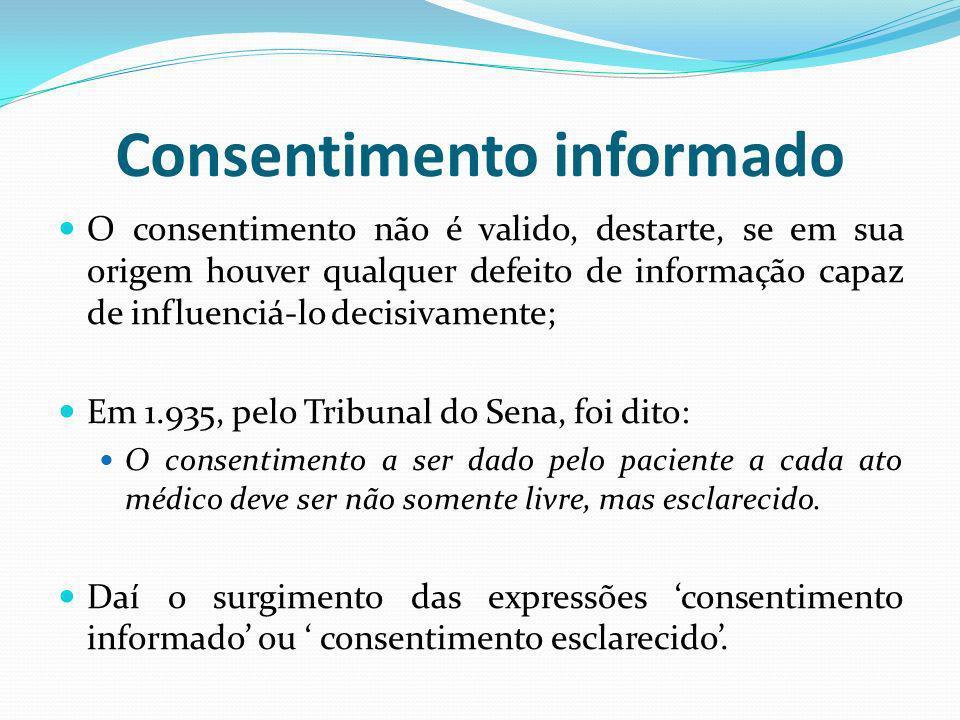 Consentimento informado O consentimento não é valido, destarte, se em sua origem houver qualquer defeito de informação capaz de influenciá-lo decisiva