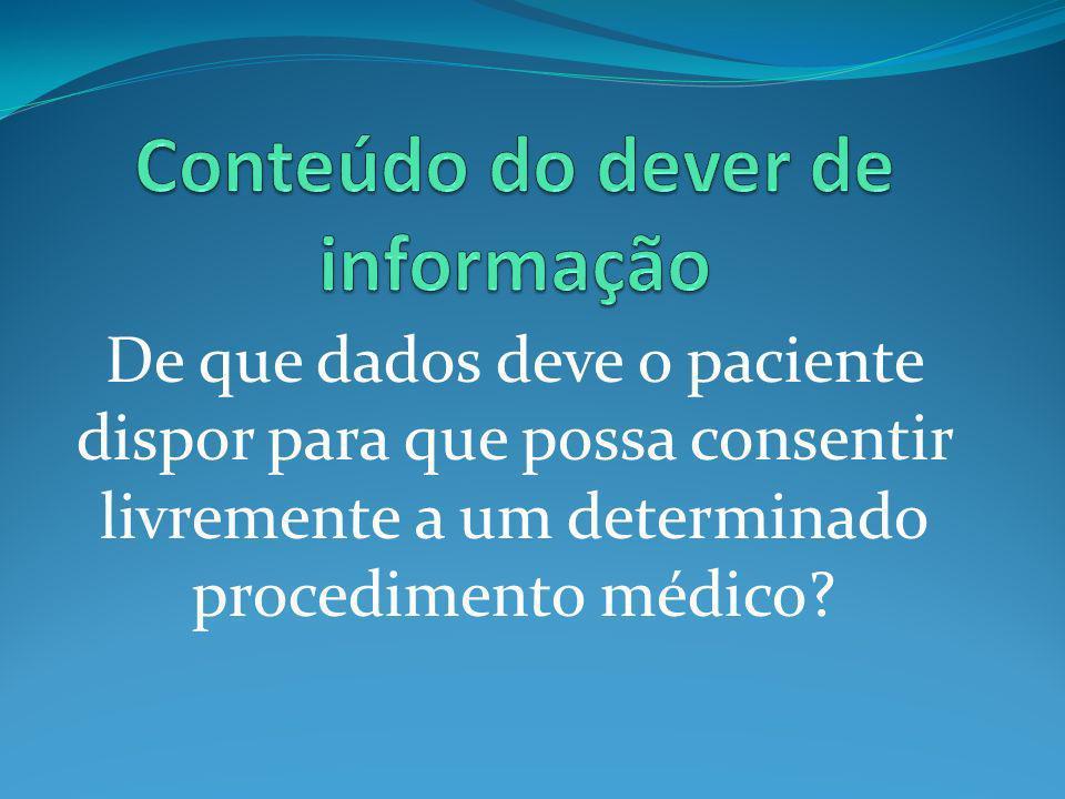 De que dados deve o paciente dispor para que possa consentir livremente a um determinado procedimento médico?