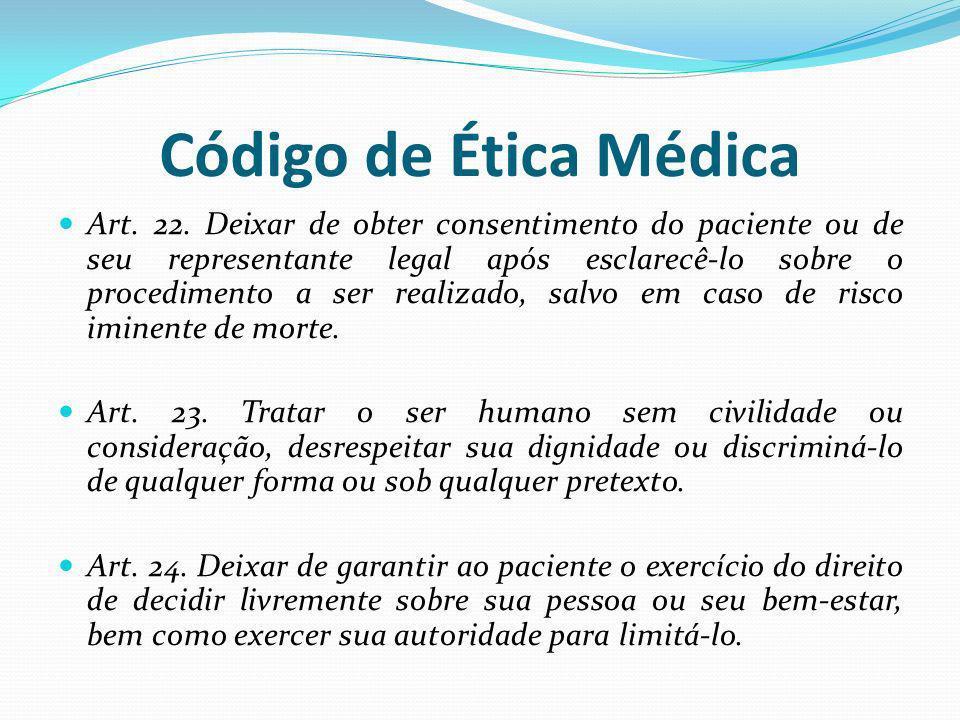 Código de Ética Médica Art. 22. Deixar de obter consentimento do paciente ou de seu representante legal após esclarecê-lo sobre o procedimento a ser r
