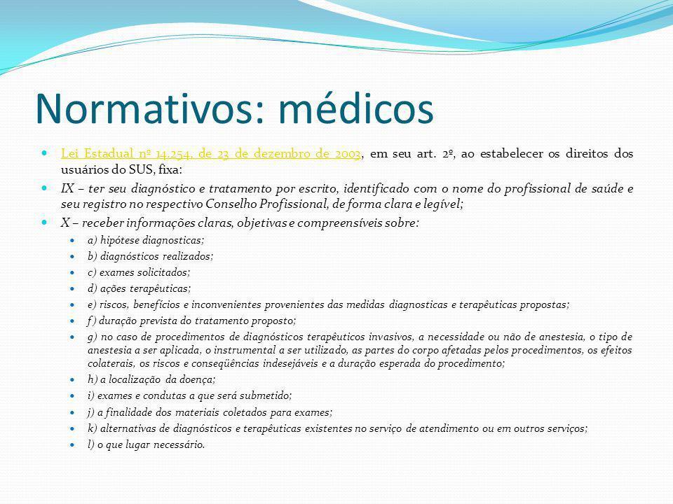 Normativos: médicos Lei Estadual nº 14.254, de 23 de dezembro de 2003, em seu art. 2º, ao estabelecer os direitos dos usuários do SUS, fixa: Lei Estad
