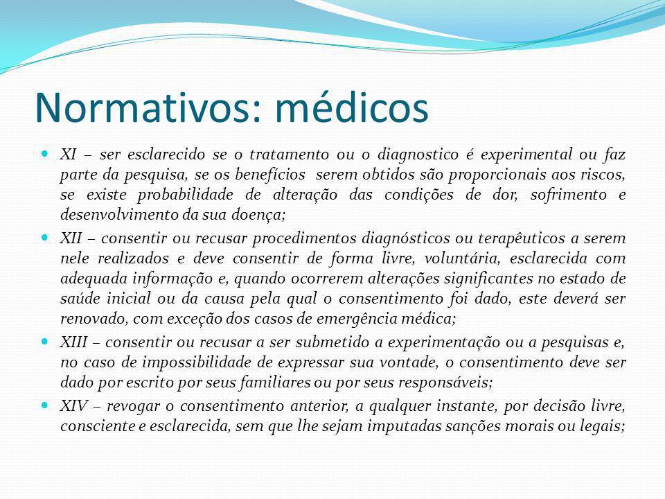 Normativos: médicos XI – ser esclarecido se o tratamento ou o diagnostico é experimental ou faz parte da pesquisa, se os benefícios serem obtidos são