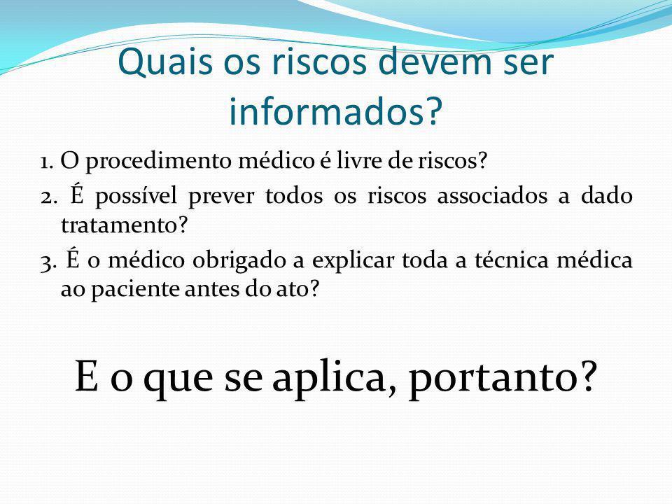 Quais os riscos devem ser informados? 1. O procedimento médico é livre de riscos? 2. É possível prever todos os riscos associados a dado tratamento? 3