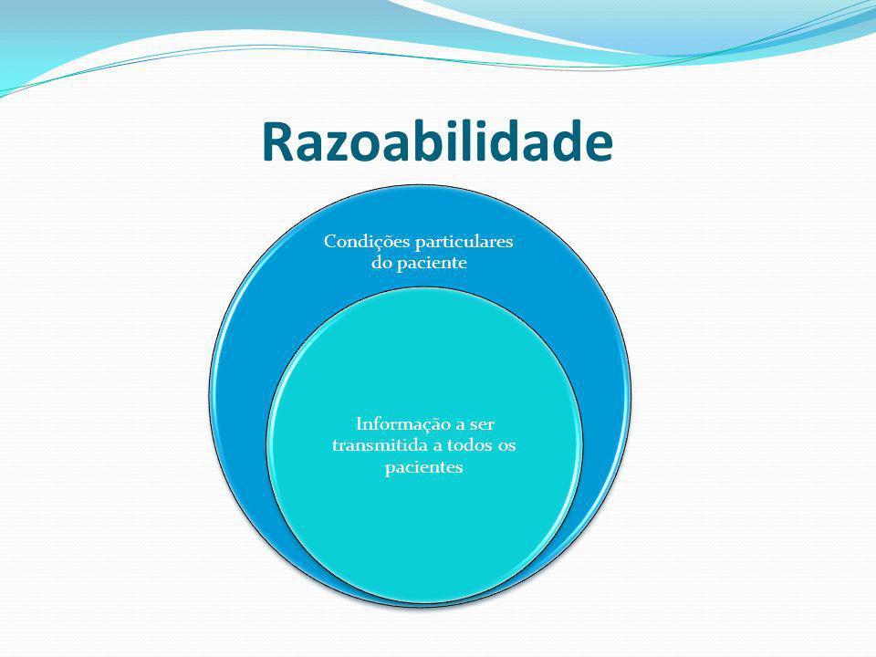Razoabilidade Condições particulares do paciente Informação a ser transmitida a todos os pacientes
