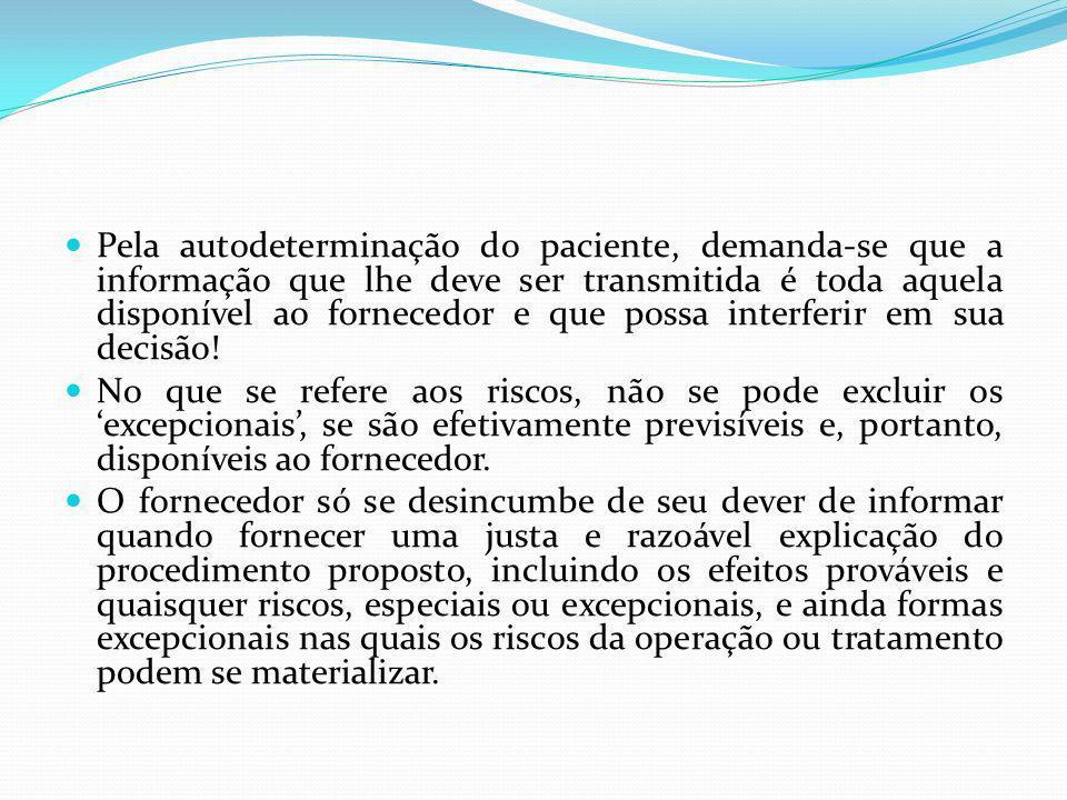Pela autodeterminação do paciente, demanda-se que a informação que lhe deve ser transmitida é toda aquela disponível ao fornecedor e que possa interfe
