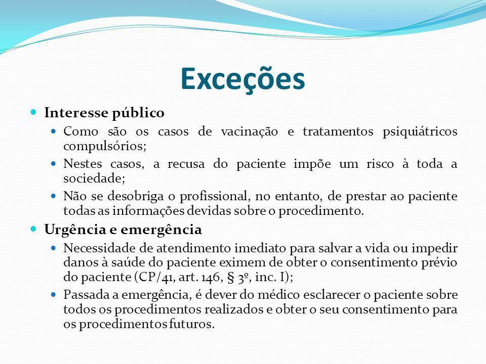 Exceções Interesse público Como são os casos de vacinação e tratamentos psiquiátricos compulsórios; Nestes casos, a recusa do paciente impõe um risco