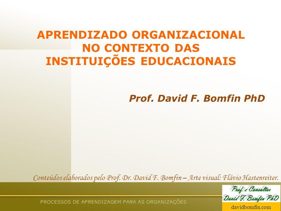 Prof. David Bomfin PhD Agosto 2003 APRENDIZADO ORGANIZACIONAL NO CONTEXTO DAS INSTITUIÇÕES EDUCACIONAIS Prof. David F. Bomfin PhD Conteúdos elaborados