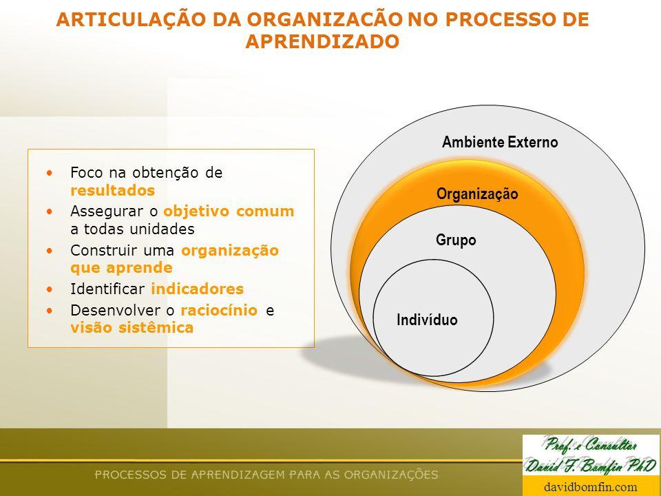 Prof. David Bomfin PhD Agosto 2003 ARTICULAÇÃO DA ORGANIZACÃO NO PROCESSO DE APRENDIZADO Foco na obtenção de resultados Assegurar o objetivo comum a t