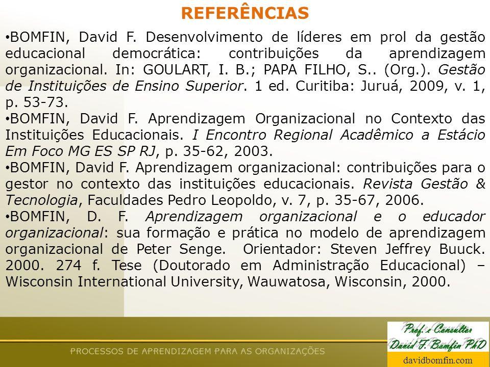 Prof. David Bomfin PhD Agosto 2003 REFERÊNCIAS BOMFIN, David F. Desenvolvimento de líderes em prol da gestão educacional democrática: contribuições da