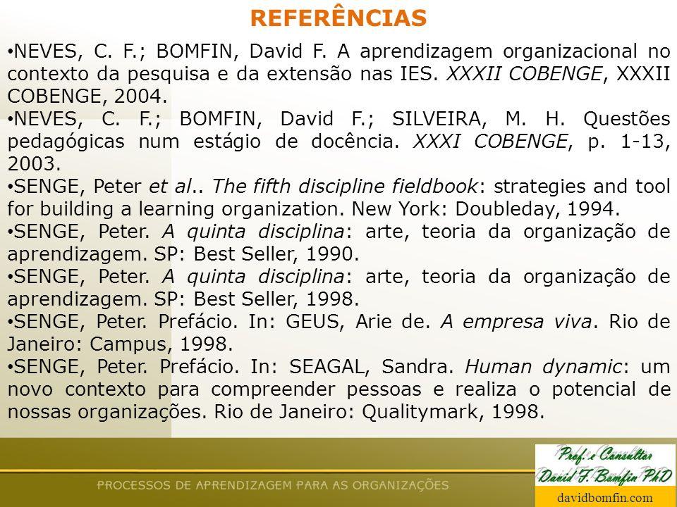 Prof. David Bomfin PhD Agosto 2003 REFERÊNCIAS NEVES, C. F.; BOMFIN, David F. A aprendizagem organizacional no contexto da pesquisa e da extensão nas