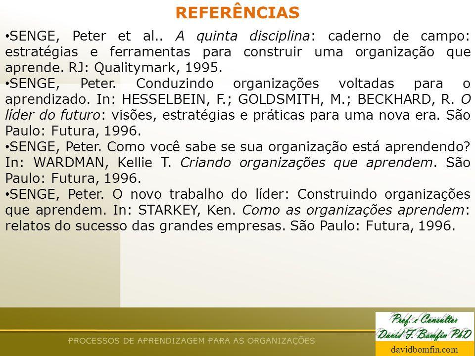 Prof. David Bomfin PhD Agosto 2003 REFERÊNCIAS SENGE, Peter et al.. A quinta disciplina: caderno de campo: estratégias e ferramentas para construir um