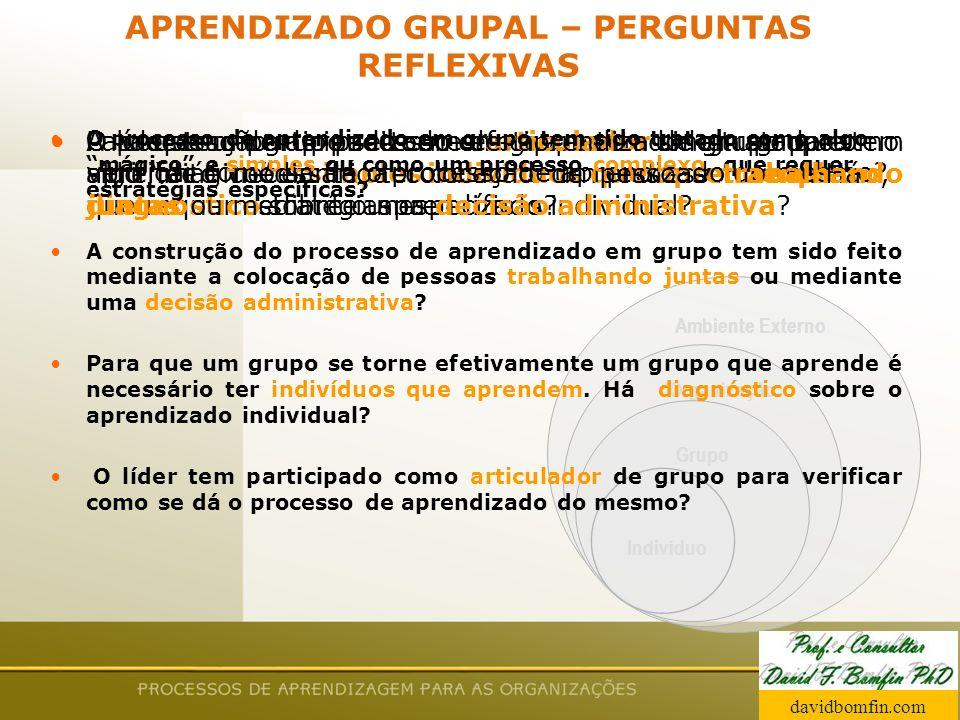 Prof. David Bomfin PhD Agosto 2003 Ambiente Externo Organização Grupo Indivíduo APRENDIZADO GRUPAL – PERGUNTAS REFLEXIVAS O processo de aprendizado em