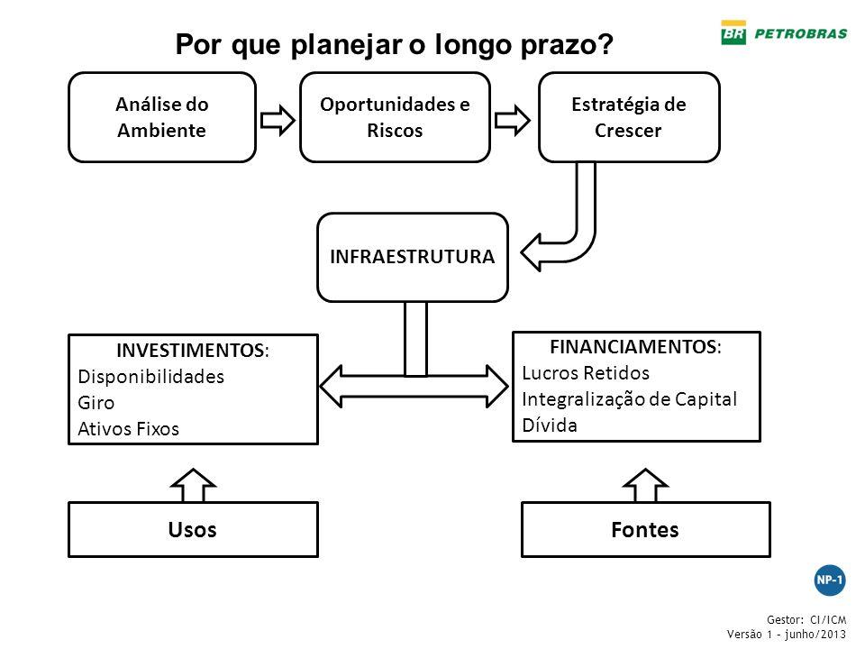 Gestor: CI/ICM Versão 1 – junho/2013 Análise do Ambiente Oportunidades e Riscos Estratégia de Crescer INFRAESTRUTURA FINANCIAMENTOS: Lucros Retidos In