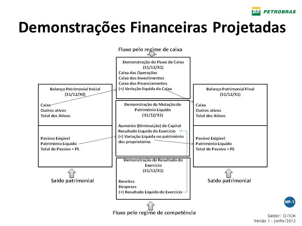 Gestor: CI/ICM Versão 1 – junho/2013 Demonstrações Financeiras Projetadas