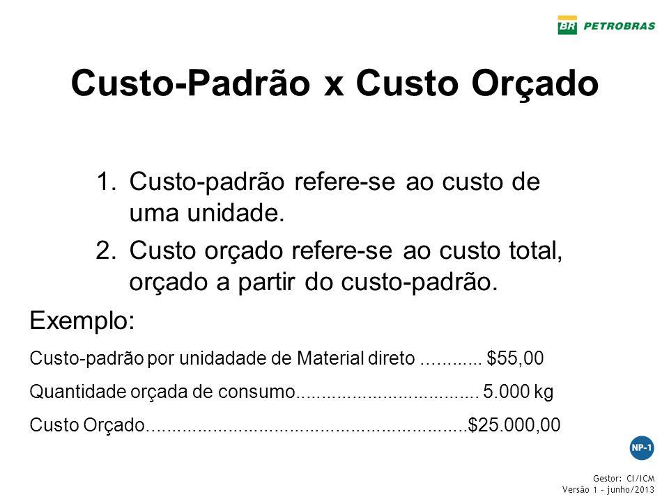 Gestor: CI/ICM Versão 1 – junho/2013 Custo-Padrão x Custo Orçado 1.Custo-padrão refere-se ao custo de uma unidade. 2.Custo orçado refere-se ao custo t