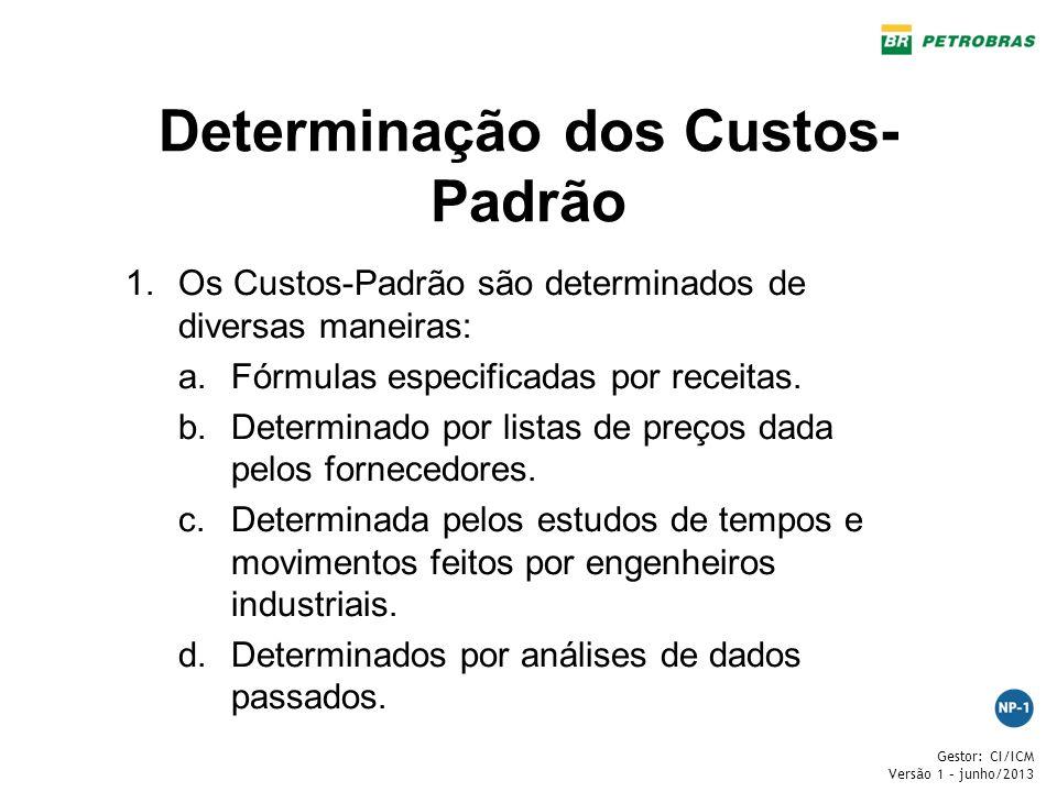 Gestor: CI/ICM Versão 1 – junho/2013 Determinação dos Custos- Padrão 1.Os Custos-Padrão são determinados de diversas maneiras: a.Fórmulas especificada