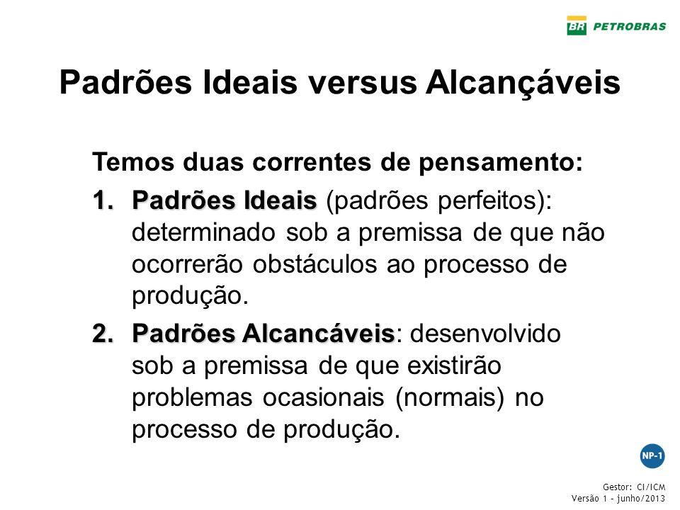 Gestor: CI/ICM Versão 1 – junho/2013 Padrões Ideais versus Alcançáveis Temos duas correntes de pensamento: 1.Padrões Ideais 1.Padrões Ideais (padrões