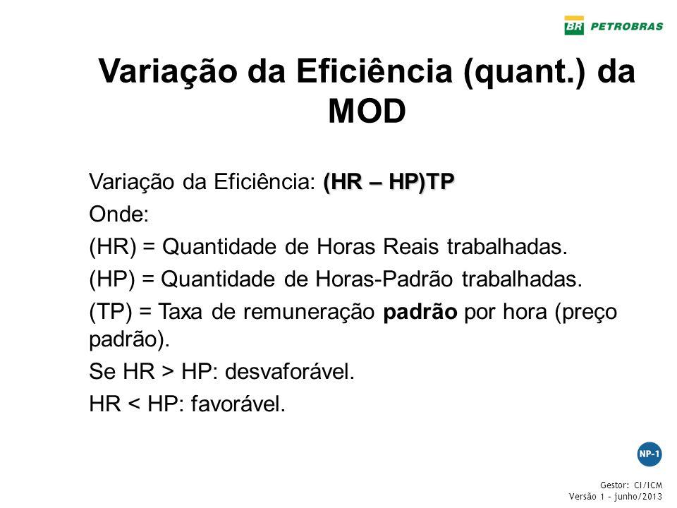 Gestor: CI/ICM Versão 1 – junho/2013 Variação da Eficiência (quant.) da MOD (HR – HP)TP Variação da Eficiência: (HR – HP)TP Onde: (HR) = Quantidade de