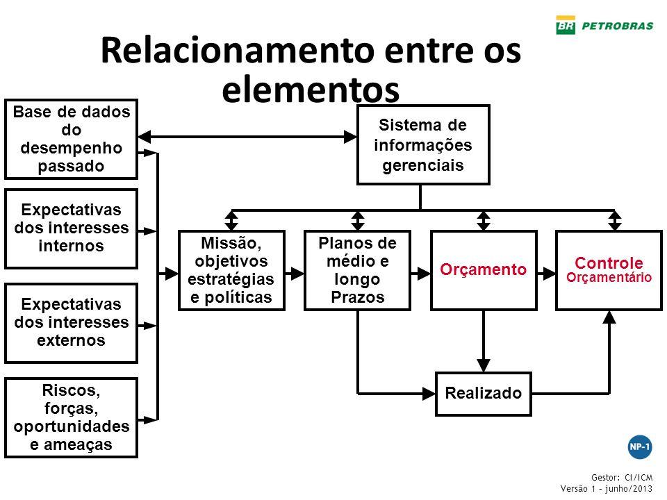 Gestor: CI/ICM Versão 1 – junho/2013 Relacionamento entre os elementos Base de dados do desempenho passado Expectativas dos interesses internos Expect