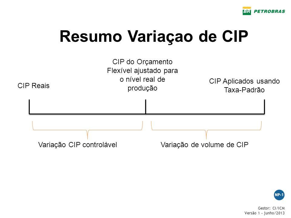 Gestor: CI/ICM Versão 1 – junho/2013 Resumo Variaçao de CIP CIP Reais CIP do Orçamento Flexível ajustado para o nível real de produção CIP Aplicados u