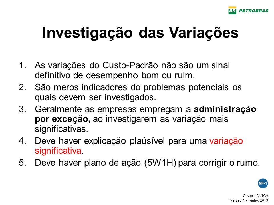 Gestor: CI/ICM Versão 1 – junho/2013 Investigação das Variações 1.As variações do Custo-Padrão não são um sinal definitivo de desempenho bom ou ruim.