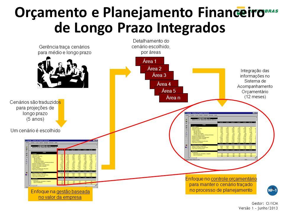 Gestor: CI/ICM Versão 1 – junho/2013 6 Orçamento e Planejamento Financeiro de Longo Prazo Integrados 6 Gerência traça cenários para médio e longo praz