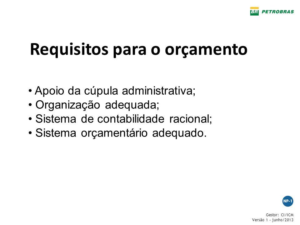Gestor: CI/ICM Versão 1 – junho/2013 Requisitos para o orçamento Apoio da cúpula administrativa; Organização adequada; Sistema de contabilidade racion