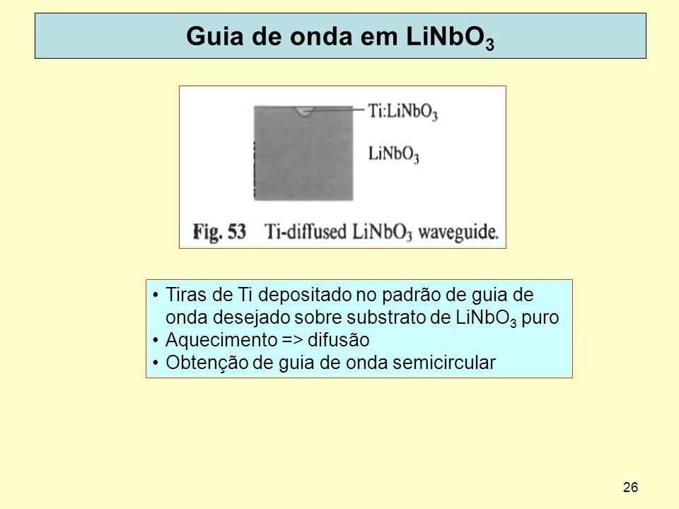 26 Guia de onda em LiNbO 3 Tiras de Ti depositado no padrão de guia de onda desejado sobre substrato de LiNbO 3 puro Aquecimento => difusão Obtenção d