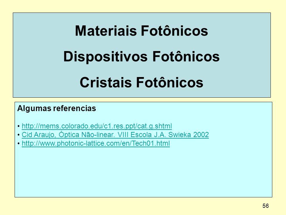 56 Materiais Fotônicos Dispositivos Fotônicos Cristais Fotônicos Algumas referencias http://mems.colorado.edu/c1.res.ppt/cat.g.shtml Cid Araujo, Óptic