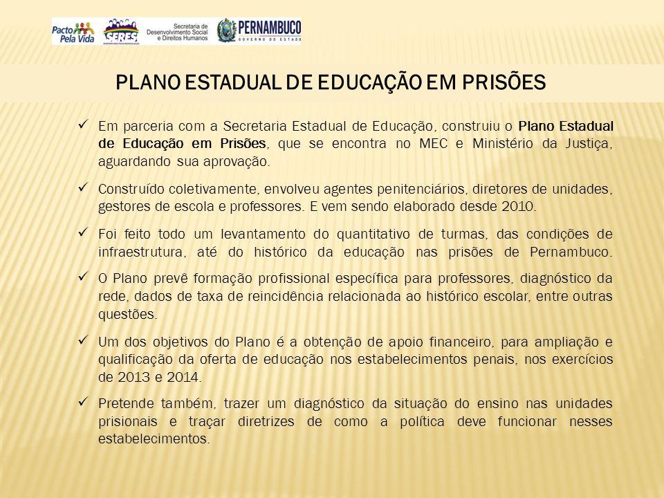 PLANO ESTADUAL DE EDUCAÇÃO EM PRISÕES Em parceria com a Secretaria Estadual de Educação, construiu o Plano Estadual de Educação em Prisões, que se enc